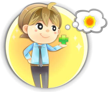 focus: Highly detail illustration cartoon male character in office uniform clothing is holding positive sign in his hand showing happy expression with positive attitude, smart clear mind, and creative idea in isolated background. Think positive will make you hea