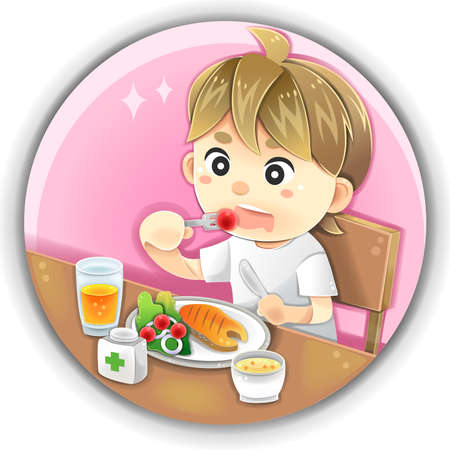 children eating fruit: Highly detail illustration cartoon male character is eating healthy nutrition food such as salmon fish steak vegetable fruit juice with medical vitamin supplement supplementary for diet and health care in isolated background Illustration