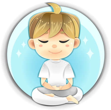 Highly detail illustration cartoon male character is sitting and meditate for concentration and healthy positive peaceful mind in white clothes uniform in isolated background. Meditation is the greatest relaxation and anti-aging indoor activity.