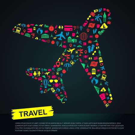 Travel transportation tourism and landmark infographic banner template layout background badge in plane flight trip leisure icon, create by vector