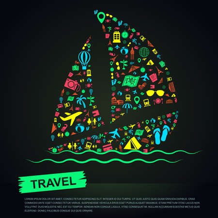 mesoamerican: Travel transportation tourism and landmark vacation infographic banner template layout background badge in sailboat sea trip leisure icon, create by vector