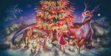 doe: Illustration of fantasy cartoon girl character and animals such as dragon reindeer doe raccoon squirrel rabbit celebrating Christmas party with presents and Christmas tree ornament decoration in nature snow landscape wilderness wood night scene in childho