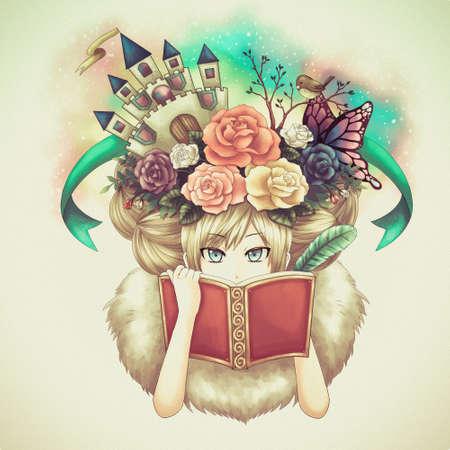 여자 쓰기 판타지 소설 책의 그림 만화 그녀의 창조적 인 상상력의 생각은 그녀의 머리에 성장하는 동안 또는 어쩌면 그녀는 오래 된 빈티지 복고풍 필