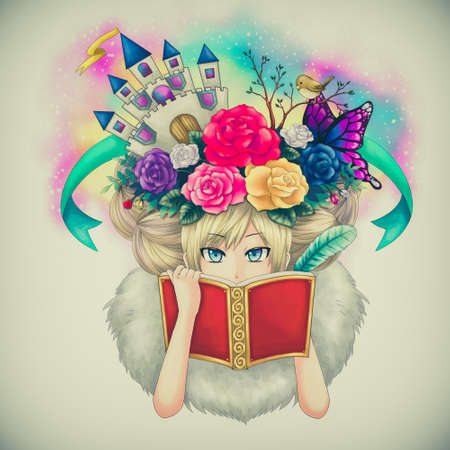 book jacket: Illustration cartoon of a girl writing fantasy novel book while her creative imagination idea growing on her head or maybe she is a goddess writing her own world in old childhood style.