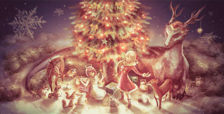 wilderness: Illustration of fantasy cartoon girl character and animals such as dragon reindeer doe raccoon squirrel rabbit celebrating Christmas party with presents and Christmas tree ornament decoration in nature snow landscape wilderness wood night scene in vintage