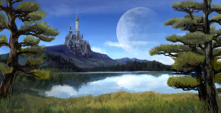 rpg: Watercolor fantasy illustration of a natural riverside lake forest landscape with ancient medieval castle on the rocky hill mountain background and blue sky with giant moon scene with fairy tale myth concept.