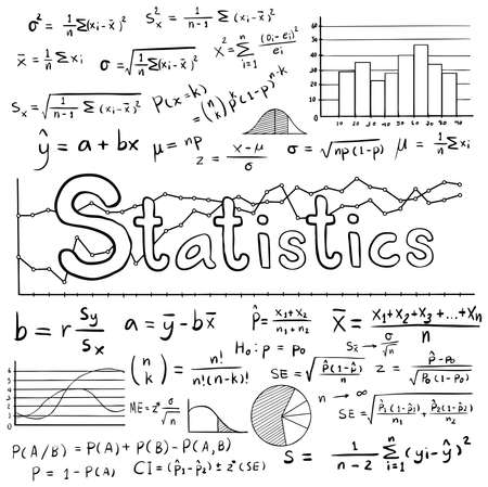 Statistiek wiskunde wet theorie en wiskundige formule de vergelijking doodle handschrift pictogram met grafiek grafiek en diagram in geïsoleerde witte achtergrond, maken door vector Stock Illustratie