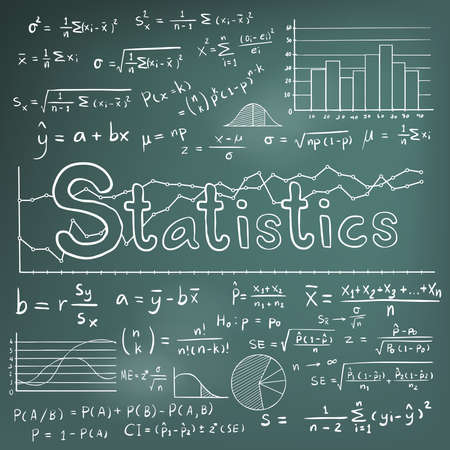 blackboard background: Statistic math law theory and mathematical formula equation doodle chalk handwriting icon with graph chart and diagram in blackboard background, create by vector Illustration