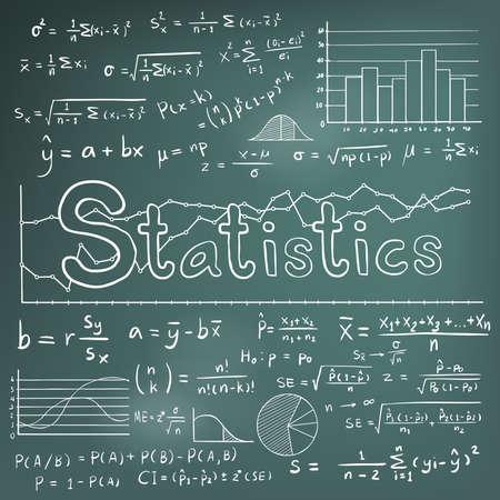 Théorie du droit statistique statistique et équation de formule mathématique doodle icône d'écriture manuscrite de craie avec graphique graphique et diagramme en arrière-plan du tableau noir, créer par vecteur Vecteurs