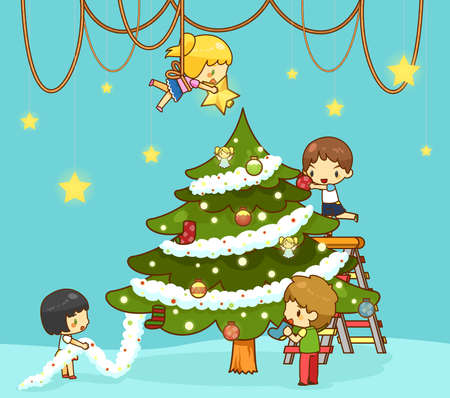 hangings: Kids children with boy and girl friends are decorating giant christmas tree with ornaments toy rainbow balls and decoration star on top to celebrate Christmas party in the stage room, create by cartoon vector