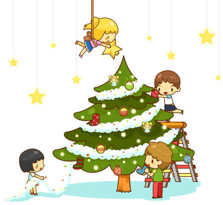 hanging girl: Kids children with boy and girl friends are decorating giant christmas tree with ornaments toy rainbow balls and decoration star hanging from the ceiling to celebrate Christmas party in white isolated background, create by cartoon vector