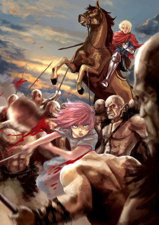 Fantasy cartoon illustration of a female warrior girl and a male knight fighting Orc army monster in the battle field of an epic medieval fairy tale war fiction with bloody evening sunset