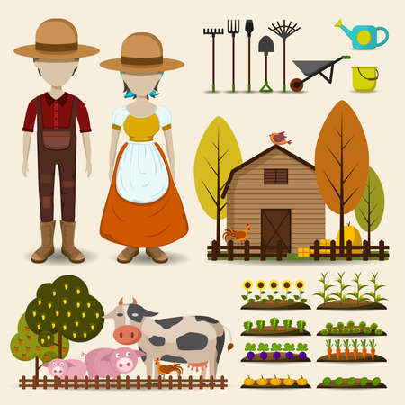 tools: Farming agriculture and cattle icon collection set consists of male female farmer uniform clothing, retro wooden barn, cow pig and chicken animal livestock, and growing flower fruit and vegetable garden in cartoon vector design Illustration