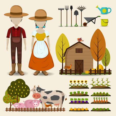 Landbouw landbouw en veeteelt icoon collectie bestaat uit man vrouw boer uniforme kleding, retro houten schuur, koe varken en kip dier vee, en groeiende bloemen fruit en groentetuin in cartoon vector design