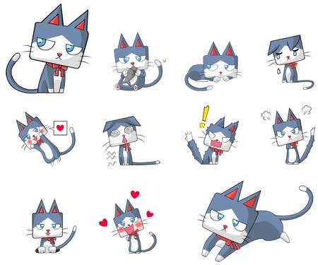 comic characters: Cute and funny cartoon kitten cat character mascot with ribbon collar in various action and expression icon collection set in Japanese manga style, create by vector.