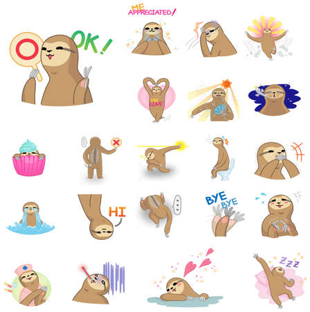 manga style: Cute and funny cartoon sloth character mascot in various action and expression icon collection set in Japanese manga style, create by vector. Sloth is a wildlife mammal similar to money or gibbon but move very slow and live on a tree.