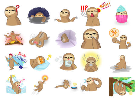Cute and funny cartoon sloth character mascot in various action and expression icon collection set 2 in Japanese manga style, create by vector. Sloth is a wildlife mammal similar to money or gibbon but move very slow and live on a tree. Ilustração