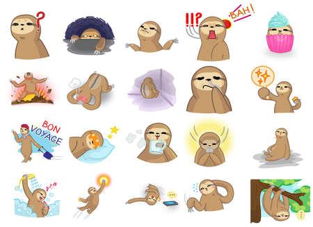 oso perezoso: La pereza de la historieta de la mascota lindo y divertido del personaje en varias recogida acción y expresión icono conjunto 2 en estilo manga japonés, crear por el vector. La pereza es un mamífero de la fauna similar a dinero o gibón sino que se mueven muy lento y vivir en un árbol.
