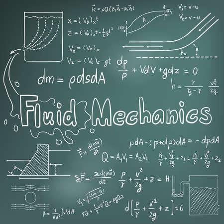 Meccanico di teoria del diritto e della fisica dei fluidi equazione formula matematica, icona della scrittura a mano di doodle a sfondo lavagna con il modello disegnato a mano, creare un vettore