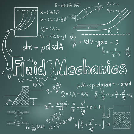 Mechanic of Fluid law theory and physics mathematical formula equation, doodle handwriting icon in blackboard background with hand drawn model, create by vector Stock Illustratie