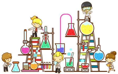 experimento: Estudiante de los niños de dibujos animados están estudiando química, trabajando y experimentando en el laboratorio masiva torre de enfriamiento de la refinería con un enorme vaso de tubo de ensayo y una herramienta de la ciencia en el fondo aislado, crear por el vector