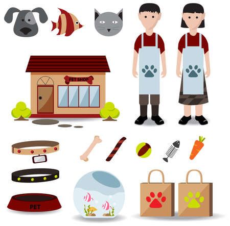 fish shop: Cute creative pet shop object icon such as store exterior design, male and female employee uniform clothes, packaging bag, cat dog fish food and container, create by cartoon vector