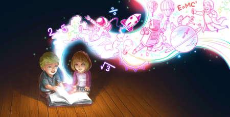 Ein niedlicher Cartoon paar kaukasischen Kindern Jungen und Mädchen lesen Buch auf dem Boden, während ihre edcucation Wissen und kreative Phantasie wie eine grafische Abbildung magische Strom fließen Standard-Bild