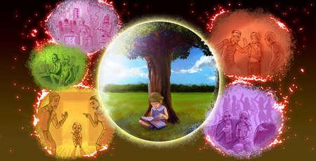 Una ilustración de la historieta del gráfico del niño está leyendo el libro bajo el árbol en el entorno de naturaleza pacífica, lejos de todas las malas influencias como las drogas, la violencia, matón, el sexo, el alcohol, el abuso, y el concepto de la paternidad malo tener una maravillosa crecido. Foto de archivo
