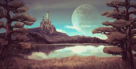 Waterverffantasie illustratie van een natuurlijke rivier bos landschap met oude middeleeuwse kasteel op de rotsachtige heuvel berg achtergrond en blauwe hemel met reuzemaan scène met sprookjesachtige mythe begrip in retro kleur.