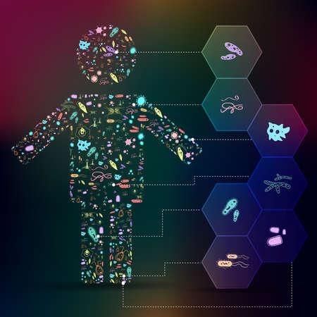 Germen y patógenos icono en infografía disposición del fondo de la forma humana para la salud o la biología educación represting enfermedades humanas tales como virus, bacterias, hongos, ameba, protozoos, gusanos y otros parásitos, crear por el vector