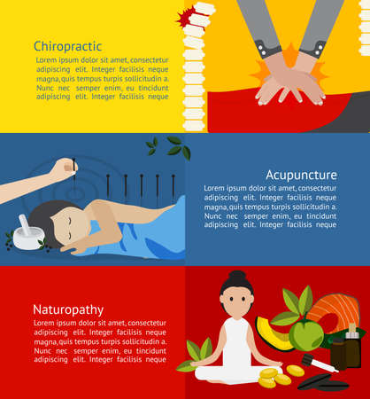 alternatives: Alternative medicine and treatment clinic for patient such as chiropractic acupuncture and naturopathy infographic banner badge template brochure layout for chemical free health care education and advertisement, create by vector Illustration