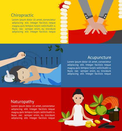 Medicina alternativa e clinica di trattamento per il paziente come l'agopuntura e la chiropratica naturopatia infografica bandiera distintivo disposizione brochure template gratis educazione sanitaria chimica e pubblicità, creare un vettore Vettoriali