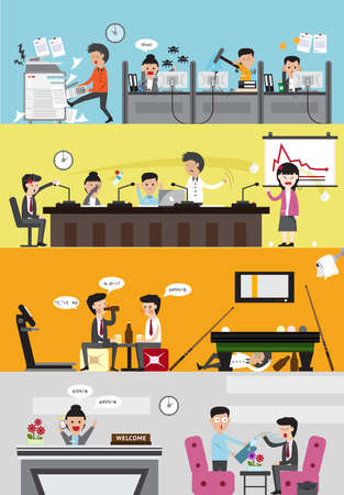 office presentation: Problems and disasters in managing a bad business company for each department such as office employee working section, meeting and presentation room, lazy leisure and recreation relaxing room, and reception entrance for visitor banner background (cartoon