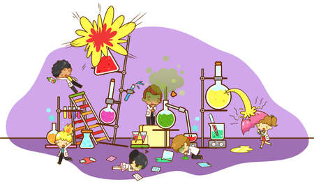 Accident and destruction while kid scientists working and experimenting in science chemistry laboratory with massive cooling tower refinery explode and toxic gas acid leakage creating bio hazard danger environment in isolated background, create by cartoon