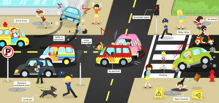 Infographic accidents, injuries, danger and safety caution on traffic road vehicles cause by cars bicycle and careless people on urban street with sign and symbol in cute funny cartoon concept for kids with text, create by vector  イラスト・ベクター素材