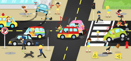 Accidents, injuries, danger and safety caution on traffic road vehicles cause by cars bicycle and careless people on urban street with sign and symbol in cute funny cartoon concept for kids, create by vector