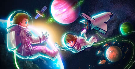 floating: Cartoon illustration of astronaut couple both boy and girl are flying in space for universe exploration and discovery adventure with spaceship shuttle satlellite earth planet and glowing stars in the background for children education concept