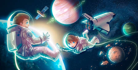 cartoon space: Cartoon illustration of astronaut couple both boy and girl are flying in space for universe exploration and discovery adventure with spaceship shuttle satlellite earth planet and glowing stars in the background for children education concept in retro vint