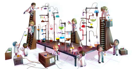 lab coats: Cartoon illustration of children scientists studying chemistry, working and experimenting in massive chemical tower refinery laboratory with complicate test tube beaker and science tool in isolated background Stock Photo