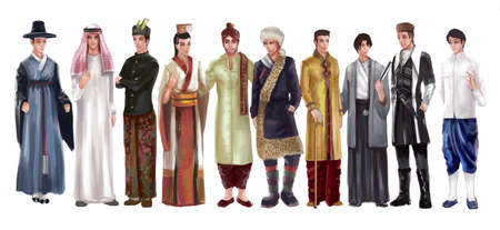 High detail cartoon illustraton of Asian male man traditional, religion, and national costume dress clothing fashion clothes set represent each country art and culture in friendly and world peace concept