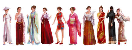 High detail watercolor style cartoon illustraton of Asian female woman traditional, religion, and national costume dress clothing fashion clothes set represent each country art and culture in friendly and world peace concept Stock Photo