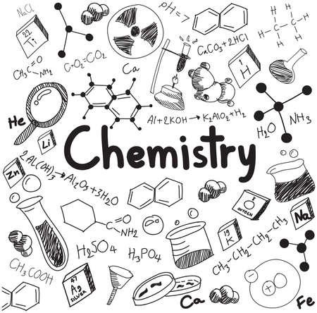 La teoría química de la ciencia y la ecuación de la fórmula de unión, garabato de escritura a mano y el modelo icono de la herramienta en el fondo blanco aislado papel utilizado para la enseñanza escolar y la decoración documento, crear por el vector Ilustración de vector