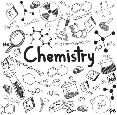 qu�mica: La teor�a qu�mica de la ciencia y la ecuaci�n de la f�rmula de uni�n, garabato de escritura a mano y el modelo icono de la herramienta en el fondo blanco aislado papel utilizado para la ense�anza escolar y la decoraci�n documento, crear por el vector Vectores