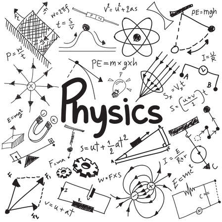 Physics science theory law and mathematical formula equation, doodle handwriting and model icon in white isolated background paper used for school education and document decoration, create by vector