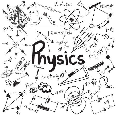 Physik Wissenschaft Theorie Recht und mathematische Formel Gleichung, doodle Handschrift und Modell-Symbol in weißem Hintergrund isoliert Papier für die Schulbildung und Dokumenten Dekoration verwendet, durch den Vektor erstellen Standard-Bild - 50745250