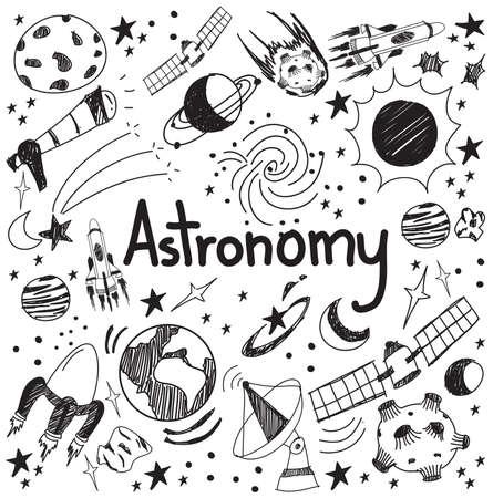 astronomie: Astronomie Wissenschaft Theorie und doodle Handschrift Ikone der Sterne Planeten und Raumtransport in weißen Hintergrund isoliert für die Schulbildung und Dokumenten Dekoration zeichnen, durch den Vektor erstellen Illustration