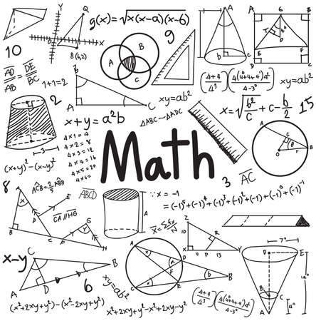 физика: Теория Математика и математическая формула уравнения значок каракули почерк в белом фоне изолированной с рисованной модели, используемой для школьного образования и художественного оформления документов, создать вектором