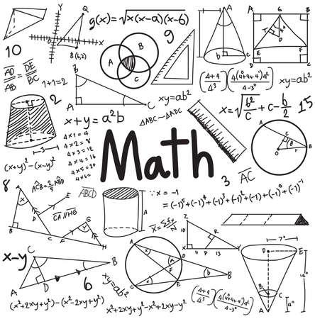 Teoria matematyczne i równania matematyczne formuły pisma doodle ikony na białym tle z ręcznie rysowane modelu używanego do edukacji szkolnej i dekoracji dokumentu, tworzenie przez wektor Ilustracje wektorowe