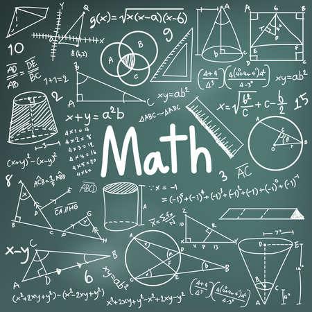 simbolos matematicos: La teoría matemática y matemática fórmula ecuación icono del doodle de escritura a mano en el fondo de la pizarra con el modelo dibujado mano utilizada para la enseñanza escolar y la decoración documento, crear por el vector Vectores