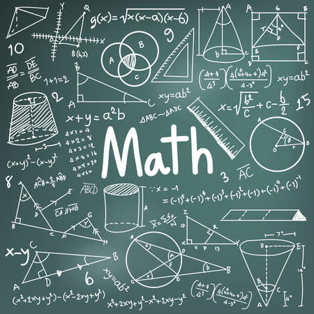 Math Theorie und mathematische Formel Gleichung Symbol doodle Handschrift in Tafel Hintergrund mit Modell für die Schulbildung und Dokumenten Dekoration Hand gezeichnet verwendet wird, durch den Vektor erstellen Illustration